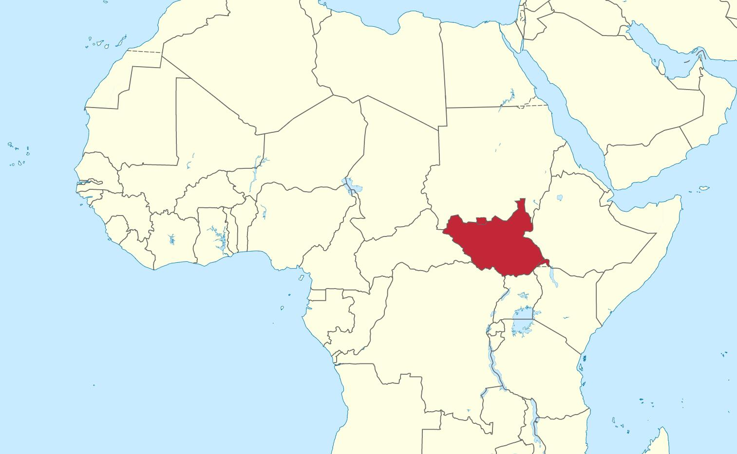 South Sudan, location in Africa