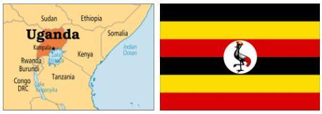 Uganda Flag and Map 2