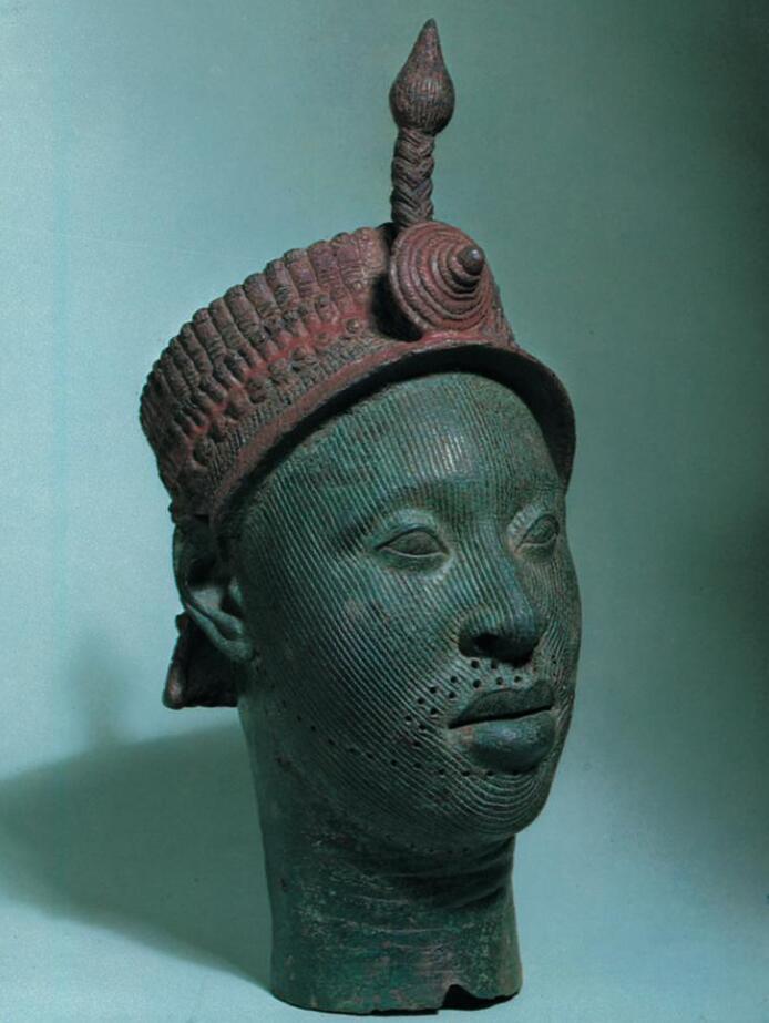 Bronze portrait head of an Ife oni king, 1300s