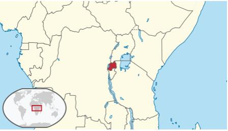 Location and size of Rwanda in Central Africa