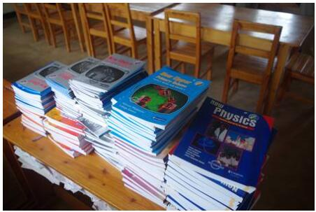 School books in a secondary school, Rwanda